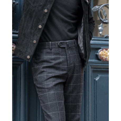 S2 / Classic Cut - Holland & Sherry Patterned Flannel - Carreaux Gris