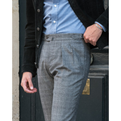S4 / Two Pleats - Prince of Wales check Flannel - Grey